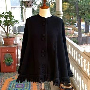 Vintage 60s SAKRI Hand Knit Black Fringe Capelette